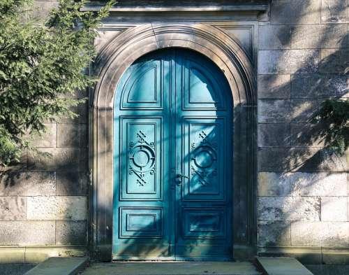Door Blue Wood Portal