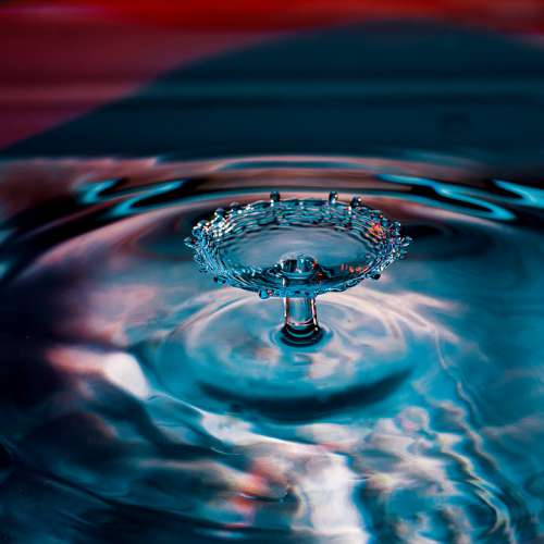 Drop Of Water Water High Speed Drip Macro Blue
