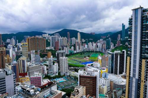 Hongkong Skyline Cityscape Architecture City Asia