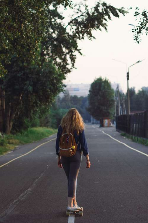 Journey Stroll Landscape Nature Backpack Asphalt