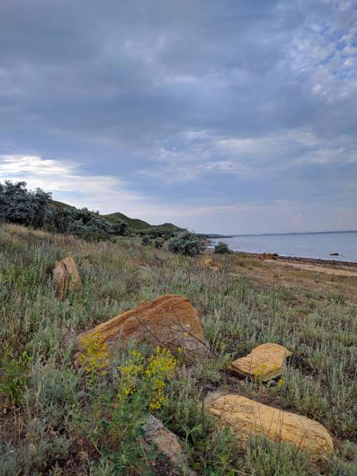 Kuyalnik Firth Body Of Water Steppe Ukraine Odessa