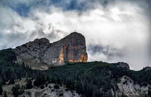 Mountain Summit Landscape Alpine Sky Clouds