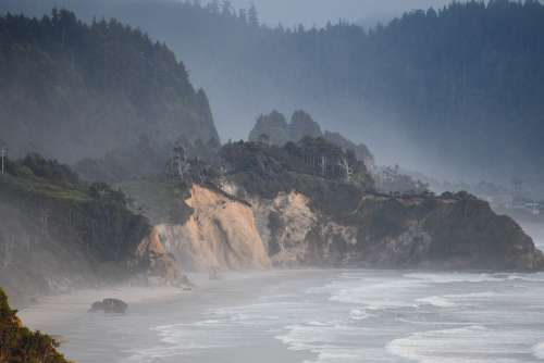 Pacific Ocean Oregon Coast Misty Seascape