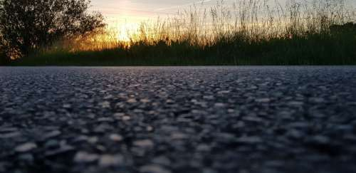 Road Street Zoom Focus Background Close Up Sunset