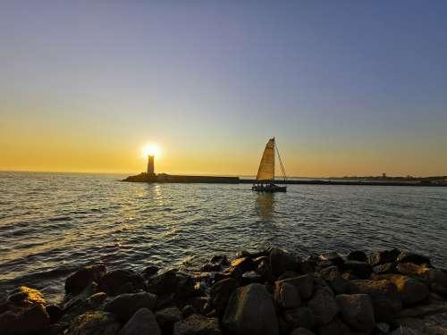 Sailboat Sunset Lighthouse France Coast Port Agde