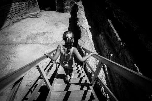 Stairs Girl Walk Metal Shade Black And White