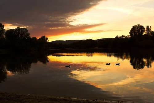 Sunset Lake Sky Water Landscape Nature Reflection