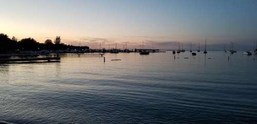 Sunset Lake Sailboat Marina Sky