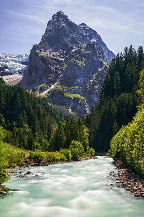 Swiss Berg Mountains Landscape Nature Travel Ice