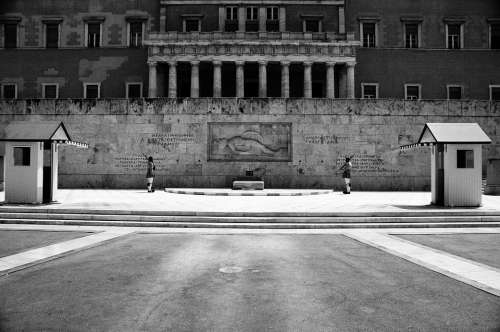 Syntagma Black And White Summer Evzone Parliament
