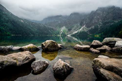 Tatry Landscape Nature Mountains Lake The Stones