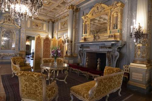 The Breakers Fireplace Mansion Luxury Fancy Gold