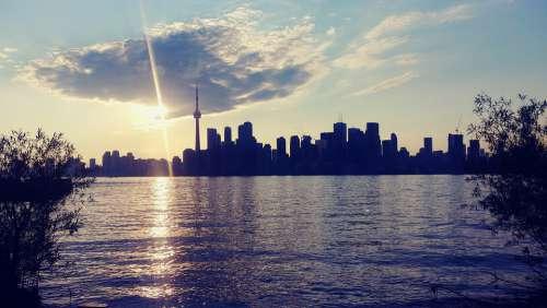 Toronto Skyline Sun Cn Tower Tower Buildings