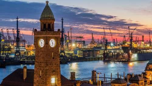 Travel City Architecture Panorama Waters Hamburg