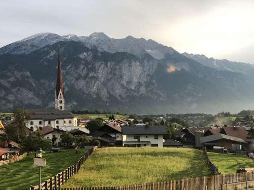 Tyrol Axams Village Alps Fence Church Mountains