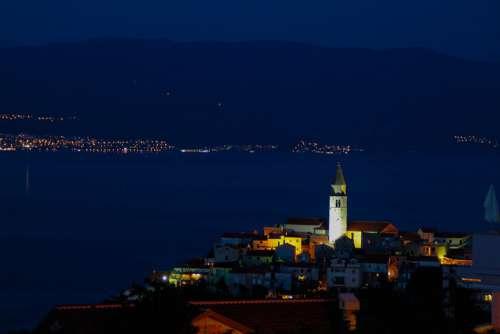 Vrbnik Croatia City Water Landscape Sea Night