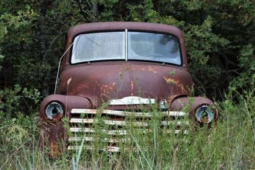 Abandoned Farm Truck In Field