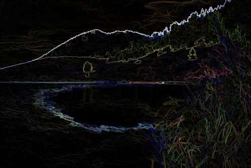 Pond Landscape Crayon Sketch