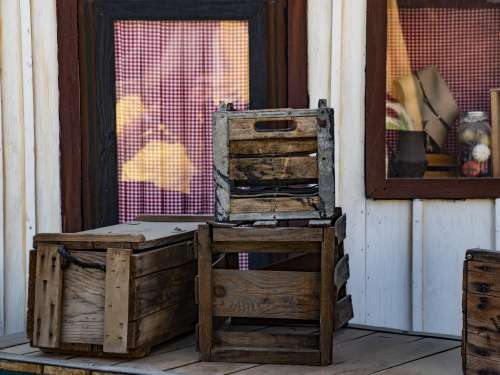 Wooden Crates Stacked