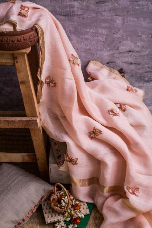 wedding wear pink textile peach
