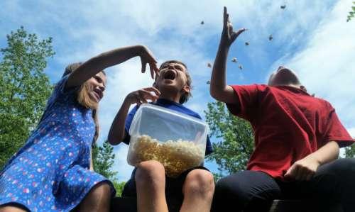 Kids enjoying popcorn...
