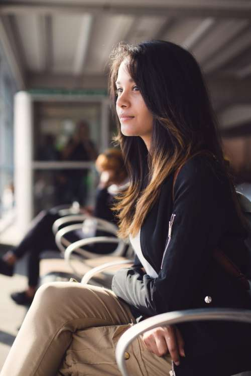 Teenage girl waiting at airport lounge