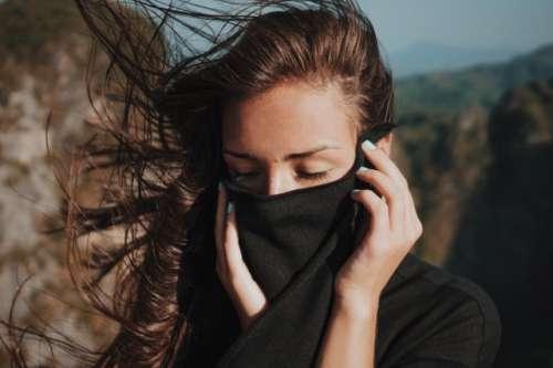 Girl's windswept hair