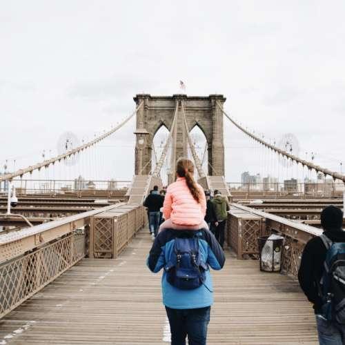 Through Brooklyn Bridge.