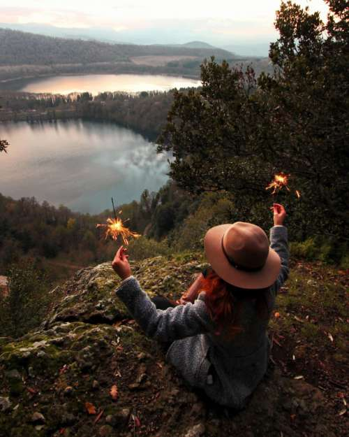 Sparklers nearby the lakes.