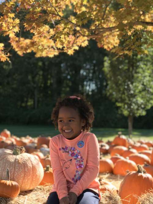 Enjoying pumpkin patch