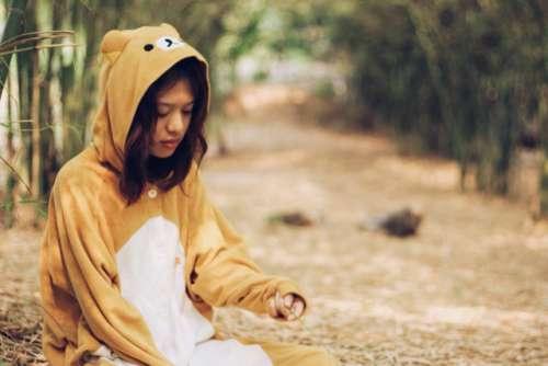 Costume girl bear costume cute