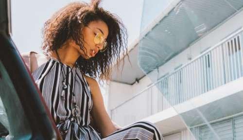 Ebony girl with curly hair