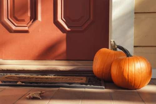 Pumpkins near the door