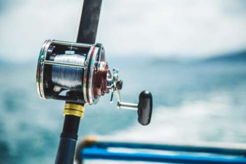 Fishing rod with sea view background
