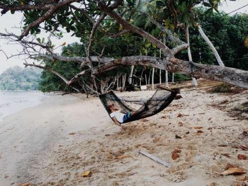 Rope hammock at pankor island Malaysia