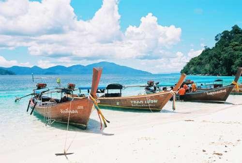 Beach south of thailand, boats, sea, beautiful, nature