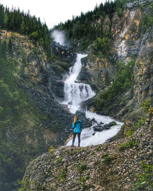 Watching a beautiful waterfall