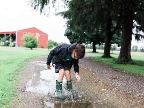 Rain puddles are a kids dream