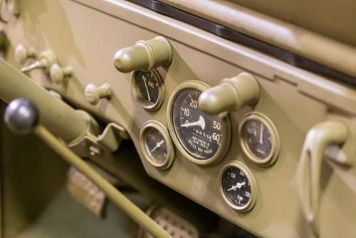 old dashboard transport military vehicle