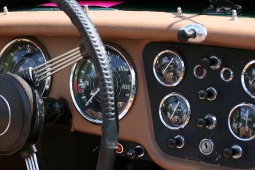 car dashboard interior steering wheel gauges