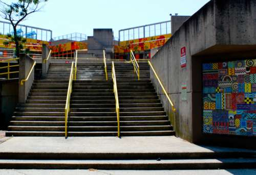 city stairs street rails art
