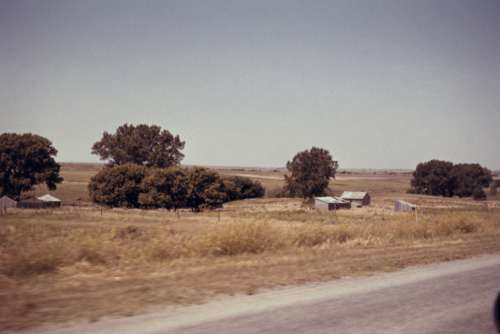 countryside barn field road trees
