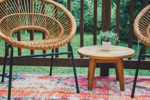 patio furniture deck table plant