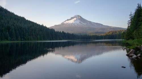 lake mountains scenic nature landscape