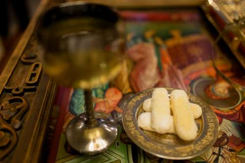 Wine and Biscuits from the Religious Ceremony