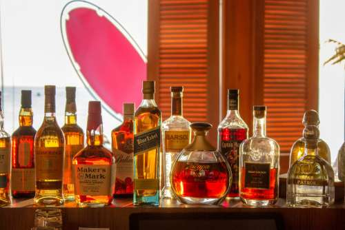 Bottles of Alcohol in a Bar in Maldives