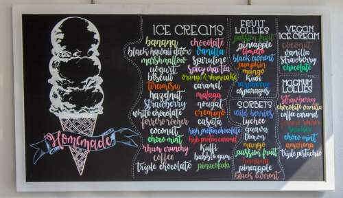 Homemade Ice Creams Menu Sign in a Restaurant