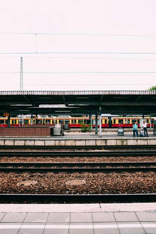 Waiting At A Train Station Photo