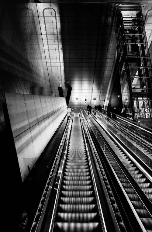 Black And White Escalator Photo