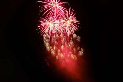 Red Fireworks Display Photo